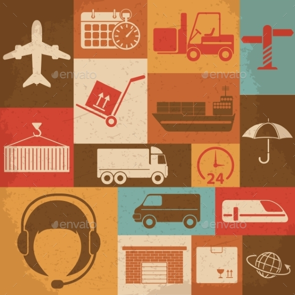 Shipping and Logistics Retro Icons - Industries Business