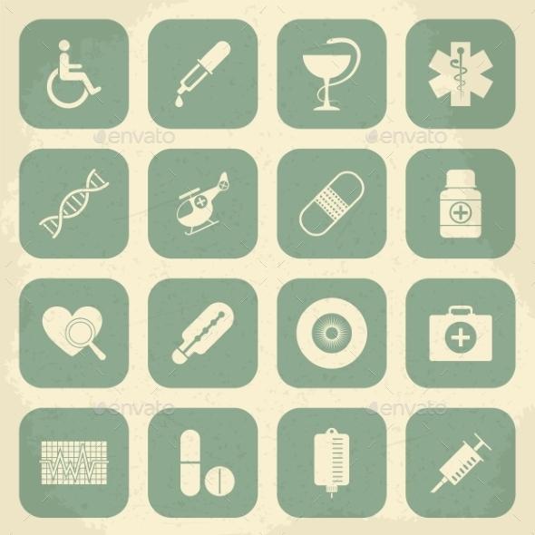 Retro Medical Icons - Health/Medicine Conceptual