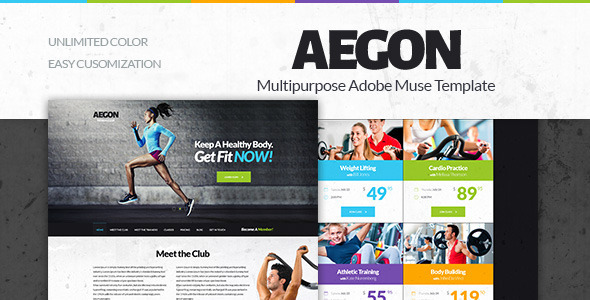 Aegon –  Gym/Fitness Club Adobe Muse Template