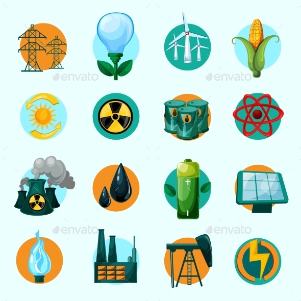 Energy Icons Set - Industries Business