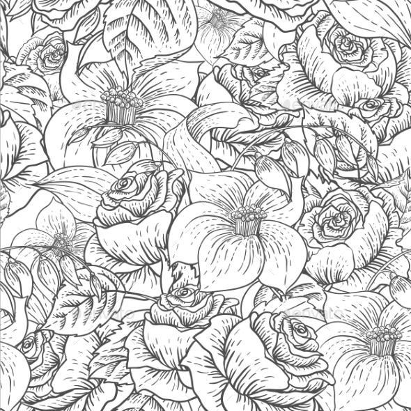 Seamless Monochrome Floral Pattern with Roses - Patterns Decorative