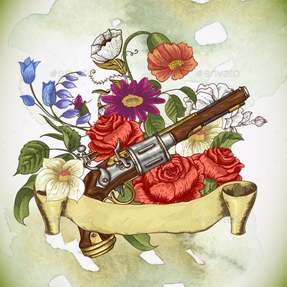 Vintage Card with a Gun and Flowers - Patterns Decorative