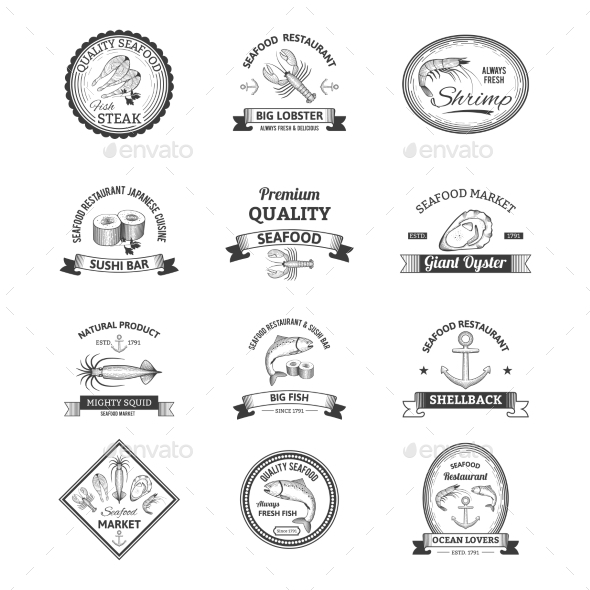 Seafood Retro Emblems - Food Objects