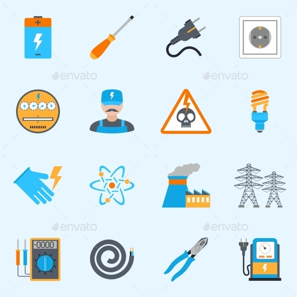 Electricity Icons Set - Miscellaneous Icons
