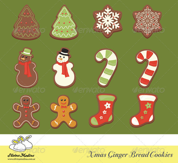 Christmas Gingerbread Cookies Collection - Objects Illustrations