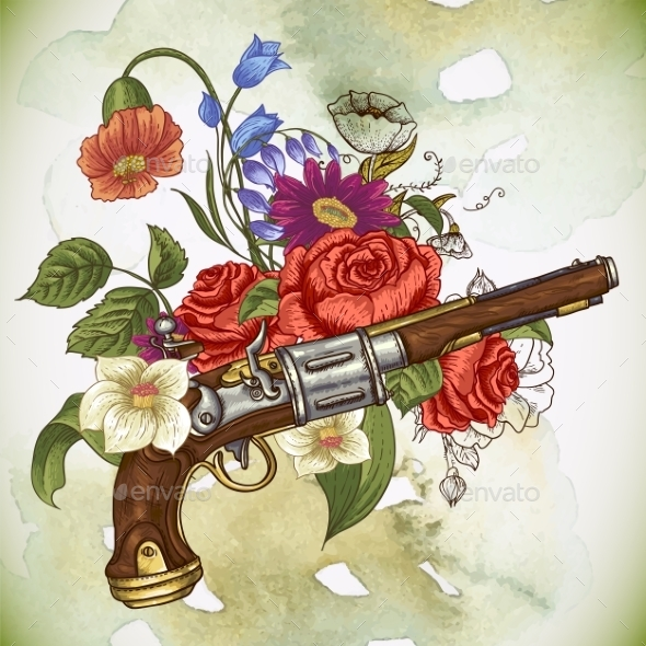 Vintage Card with a Gun and Flowers - Decorative Symbols Decorative