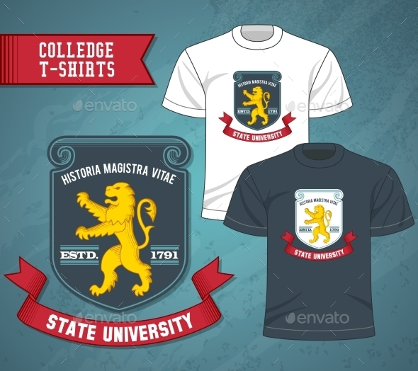 College Labels T-shirts - Decorative Vectors