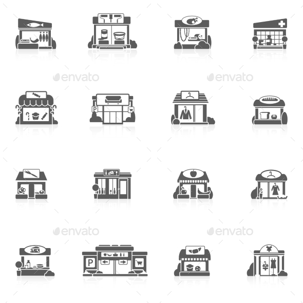 Store Buildings Set - Buildings Objects
