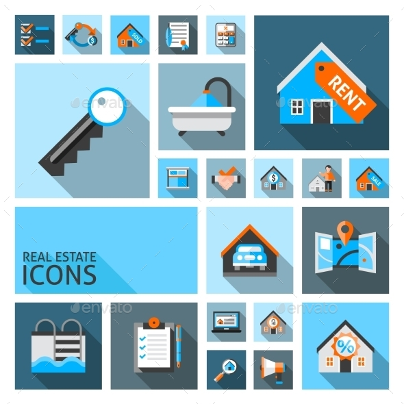 Real Estate Icons - Buildings Objects