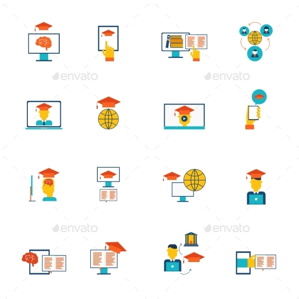 Online Education Icons Flat - Technology Conceptual