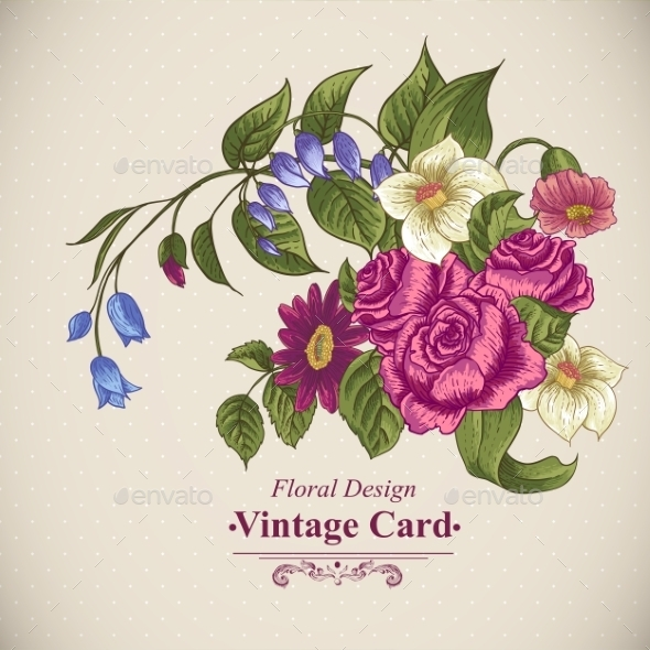 Vintage Floral Card with Roses and Wild Flowers - Patterns Decorative