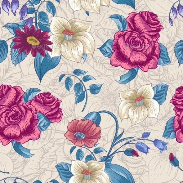 Seamless Floral Pattern with Roses and Wildflowers - Patterns Decorative