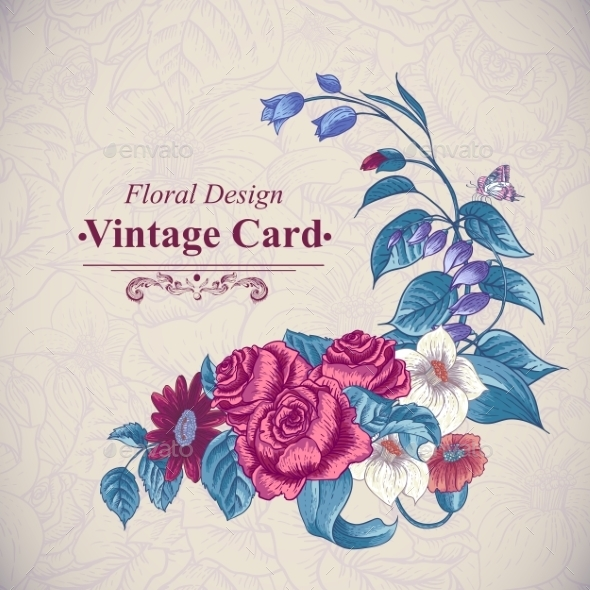 Vintage Floral Card with Roses and Wild Flowers - Flowers & Plants Nature