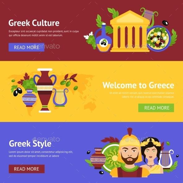 Greece Banner Set - Travel Conceptual