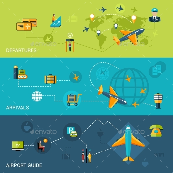 Airport Banners Set - Travel Conceptual