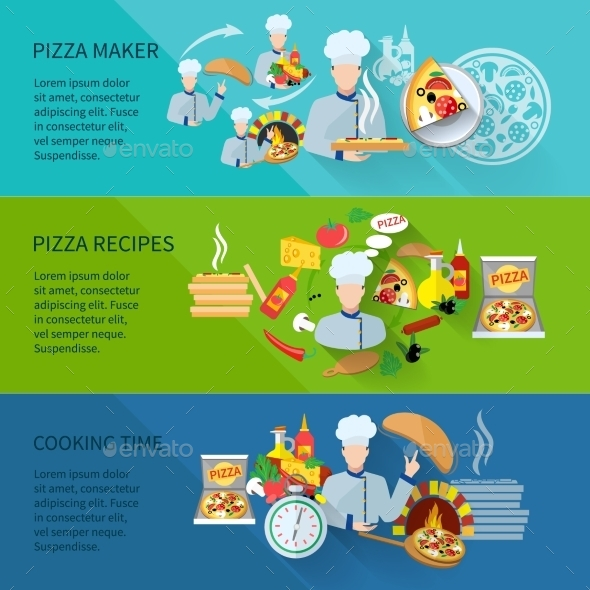 Pizza Maker Banner - Food Objects