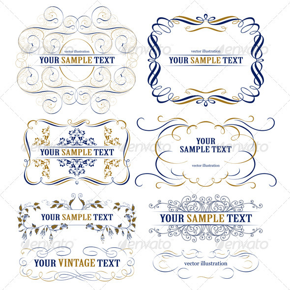 Vector Ribbon Set - Flourishes / Swirls Decorative