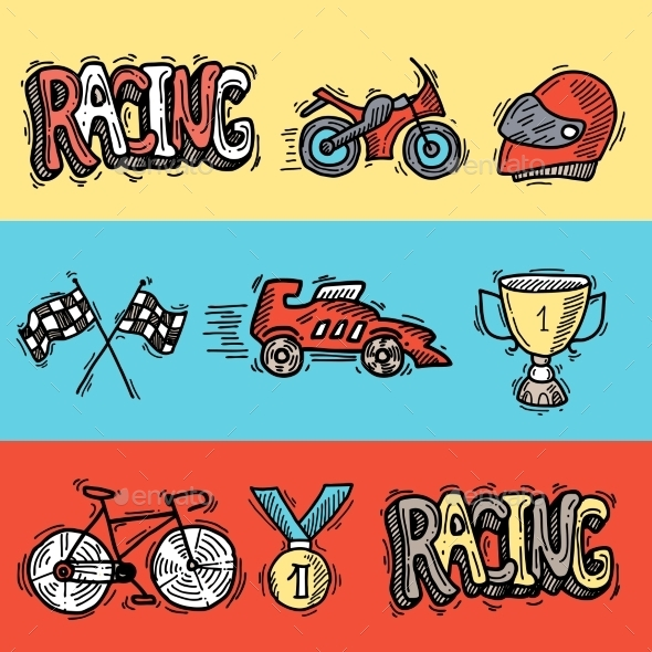 Racing Banners Set - Sports/Activity Conceptual