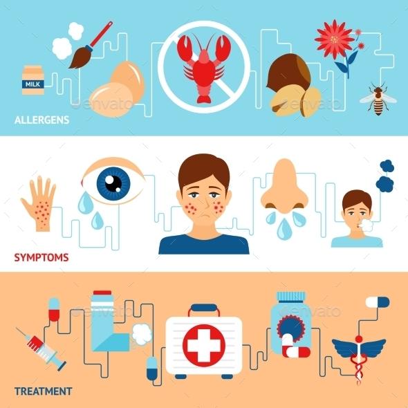 Allergy Banner Set - Health/Medicine Conceptual