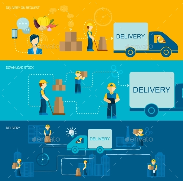 Delivery Man Banner - Business Conceptual