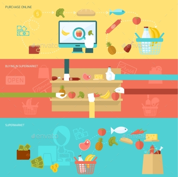 Supermarket Banner Set - Borders Decorative