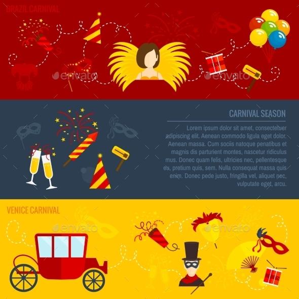 Carnival Flat Banners Set - Seasons/Holidays Conceptual
