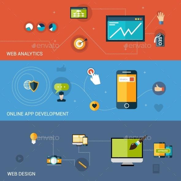 Web Development Banner - Web Elements Vectors