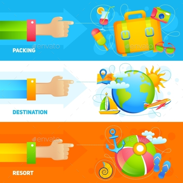 Summer Vacation Banner Set - Travel Conceptual
