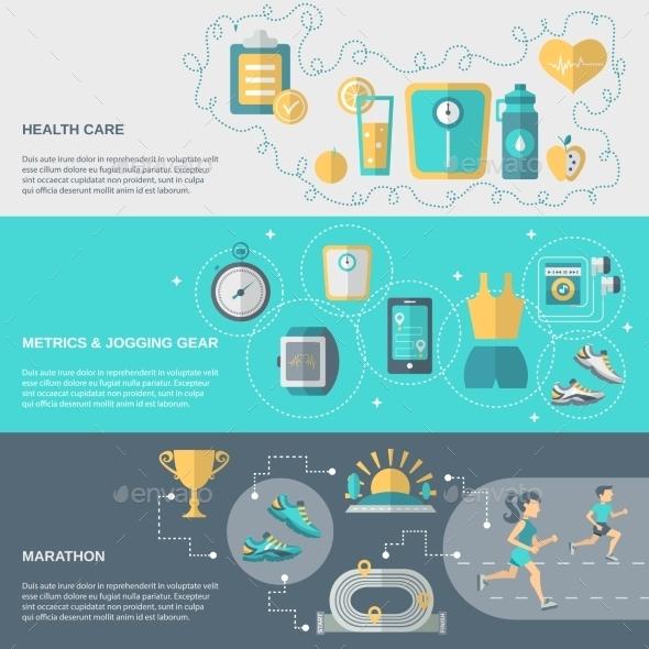 Jogging Banner Set - Sports/Activity Conceptual