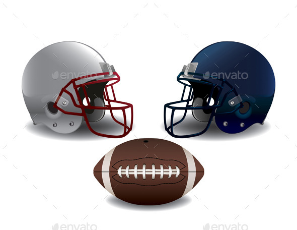 American Football Helmets and Ball Isolated - Sports/Activity Conceptual
