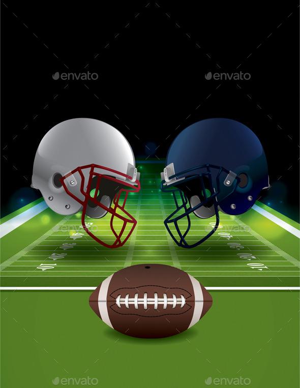 Vector American Football Helmets Clashing - Sports/Activity Conceptual