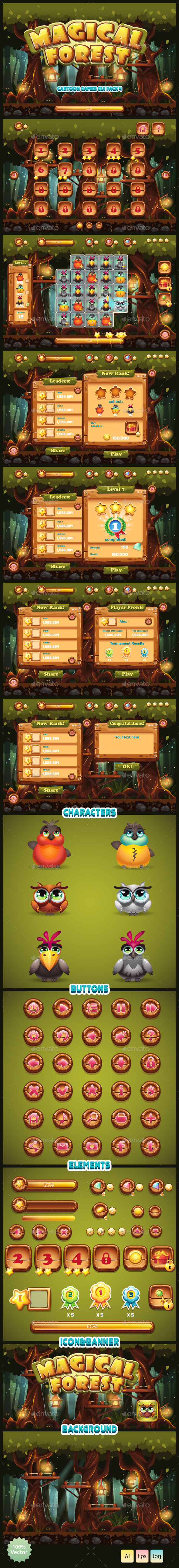 GUI Magical Forest - Game Kits Game Assets