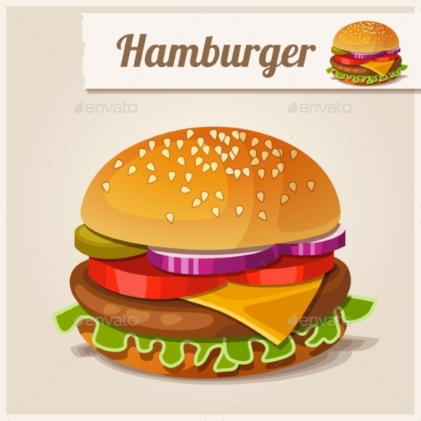 Detailed Icon Hamburger - Food Objects