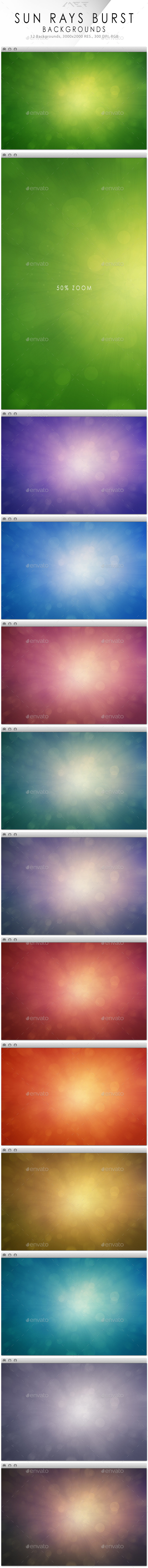 Sun Rays Burst Backgrounds - Abstract Backgrounds