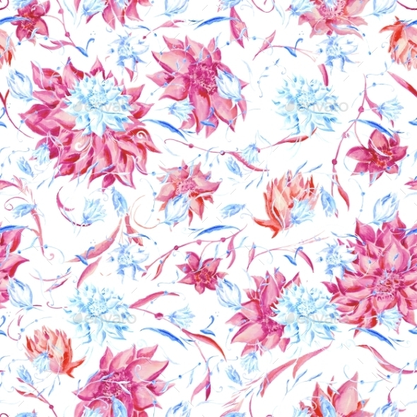 Blue and Pink Watercolor Pattern - Patterns Decorative