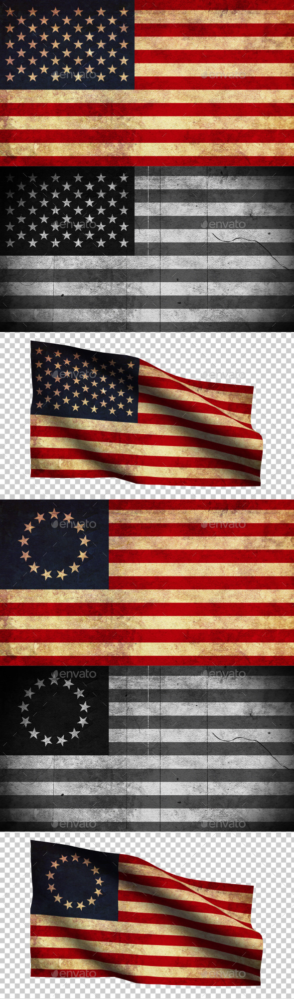 USA Flag Grunge and Retro