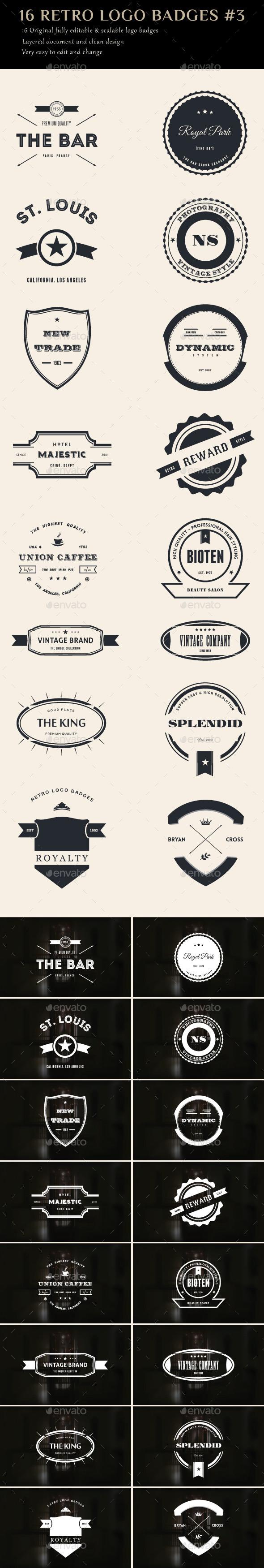 16 Retro Logo Badges #3 - Badges & Stickers Web Elements