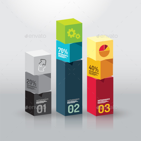Number Colour Banners Modern Design Box Template - Infographics