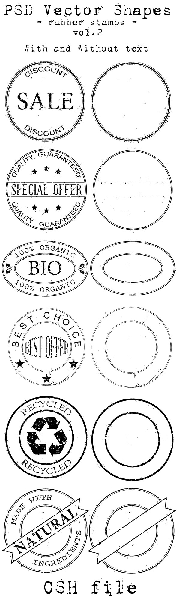 PSD Vector Shapes - rubber stamps - Vol 2. - Miscellaneous Shapes