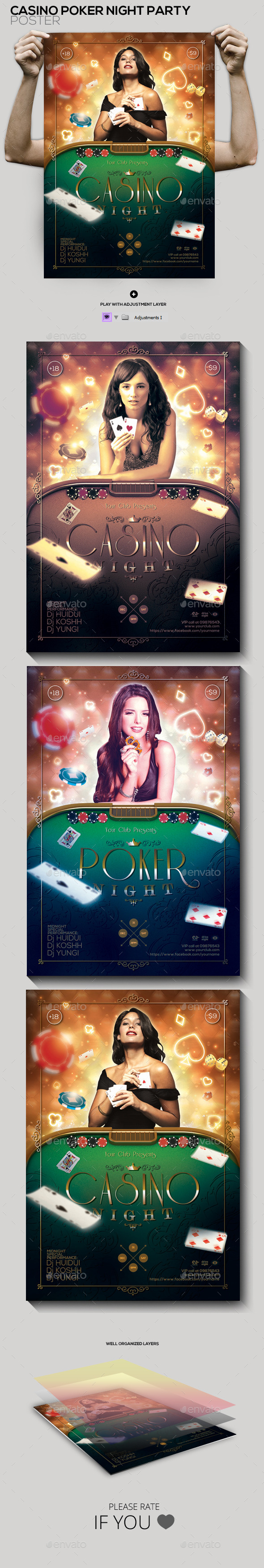 Casino Poker Night Party Poster/ Flyer - Clubs & Parties Events