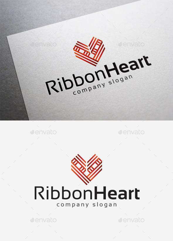 Ribbon Heart Logo - Abstract Logo Templates