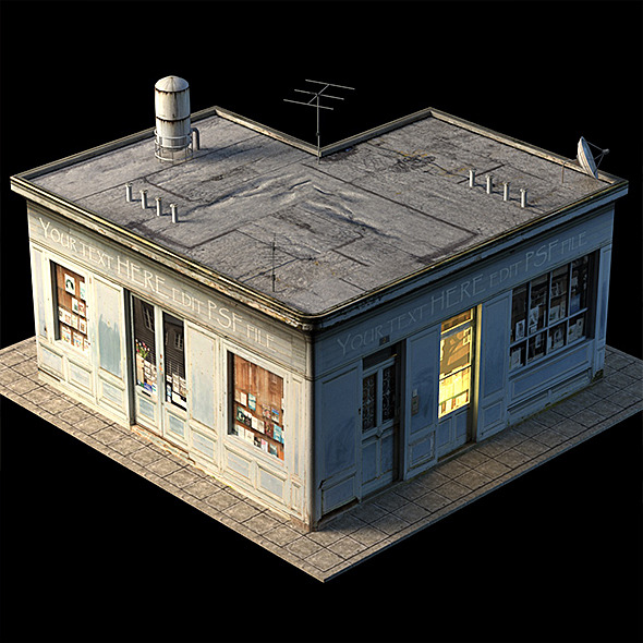 Small Shop Building Low Poly - 3DOcean Item for Sale