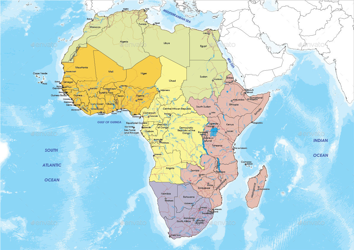 Detailed Map of Africa by pstros  GraphicRiver
