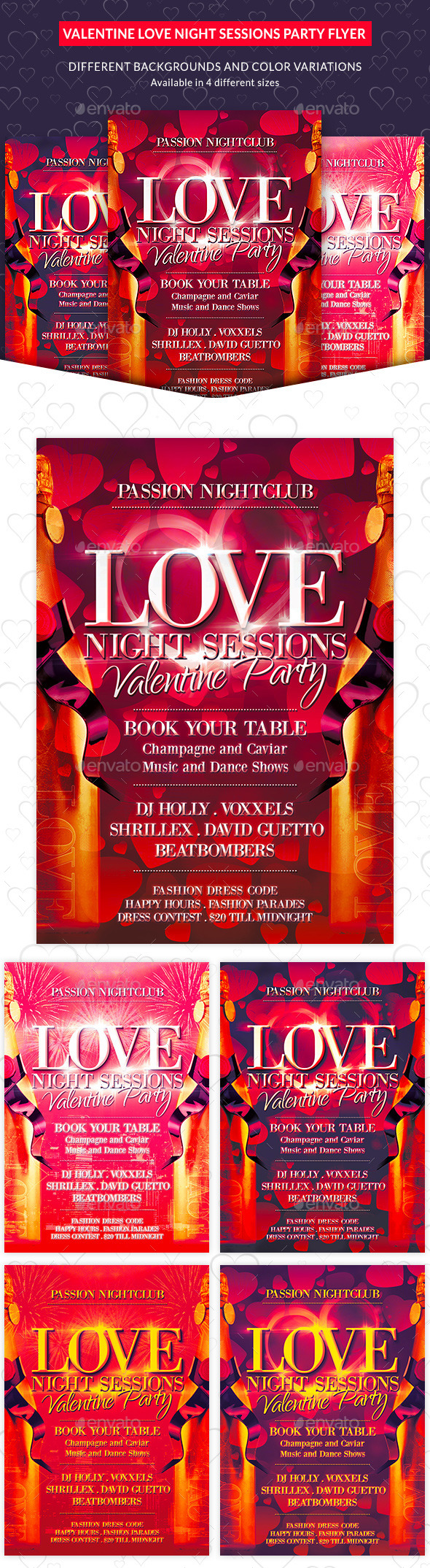 Valentine Love Night Sessions Party Flyer - Clubs & Parties Events