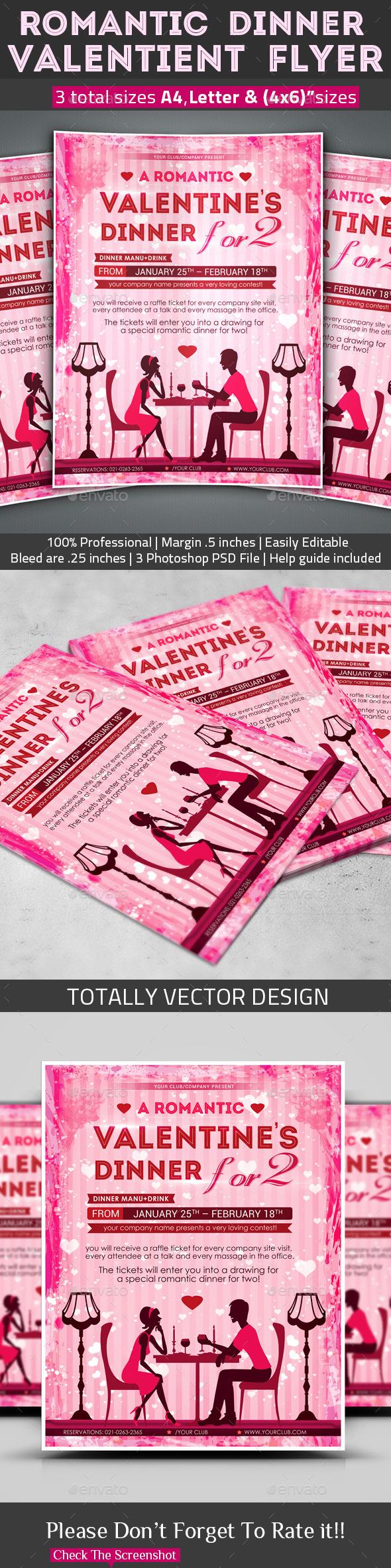 Romantic Dinner  Valentine's Flyer - Restaurant Flyers