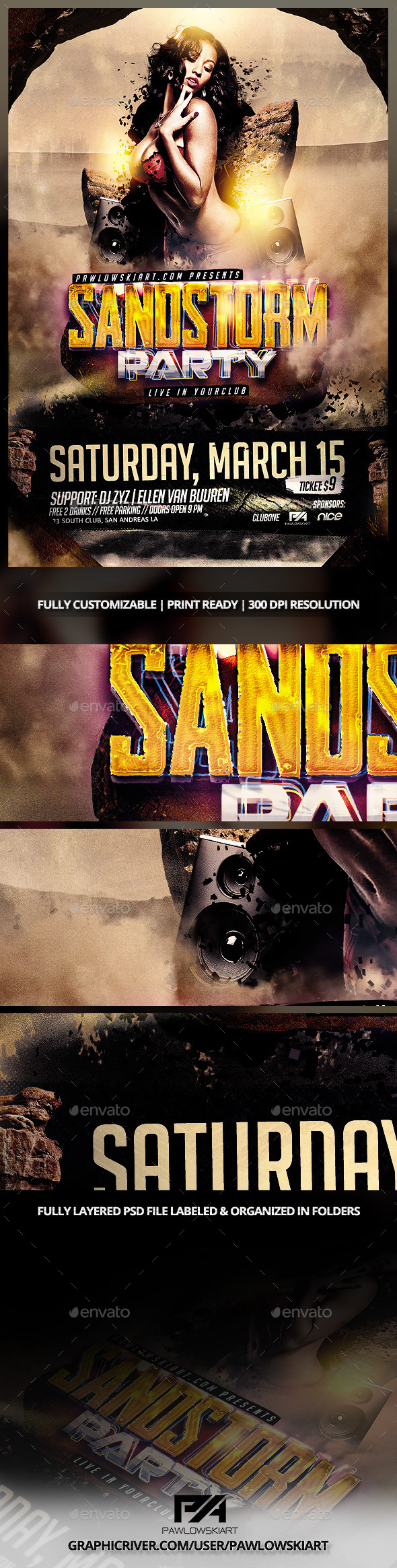 Sandstorm Party Flyer Template PSD - Clubs & Parties Events