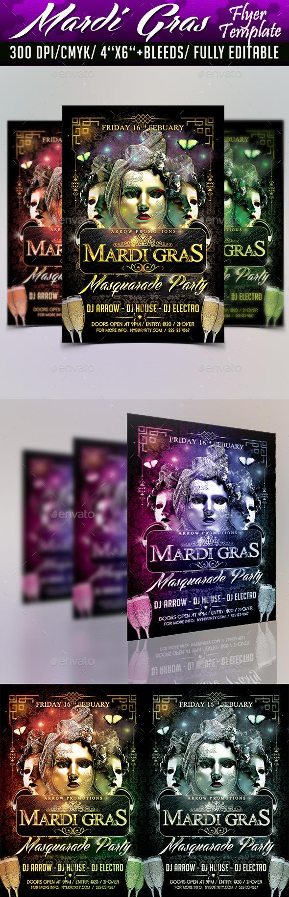 Mardi Gras Masquarade Flyer Template - Clubs & Parties Events