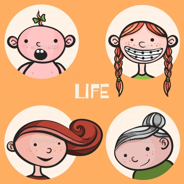 Woman Life Cycle - People Characters