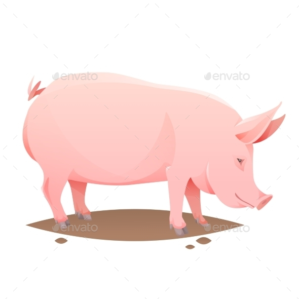 Pink Farm Pig - Animals Characters