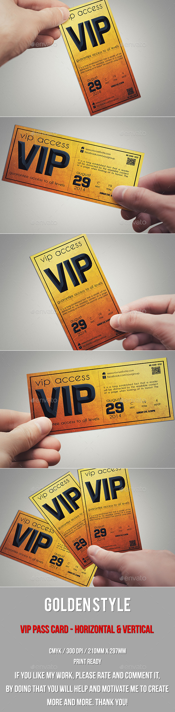 Golden style vip pass card - Cards & Invites Print Templates
